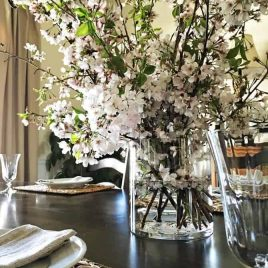 A cherry blossom branch arrangement makes an easy and elegant arrangement to welcome spring into your home! // addapinch.com