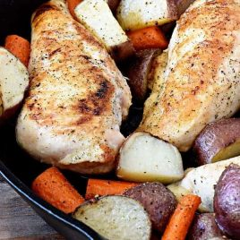 This skillet ranch chicken recipe makes a quick and easy weeknight supper. Full of flavor, this one-skillet meal combines chicken, potatoes, carrots, and my homemade ranch seasoning for a mighty delicious meal! // addapinch.com