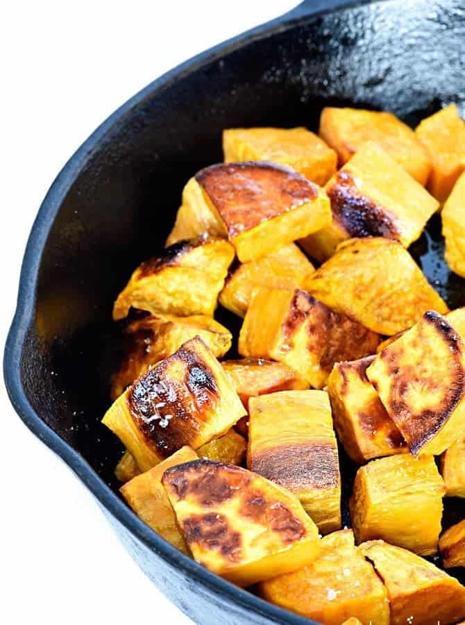 Skillet roasted sweet potatoes make a favorite side dish! Made with ...