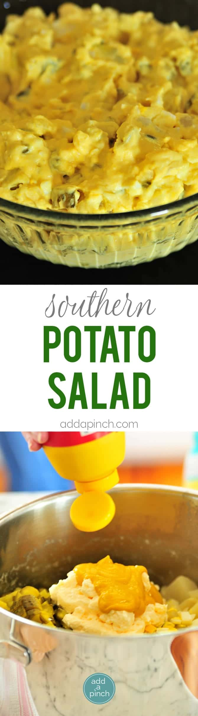 Southern Potato Salad Recipe - Southern Potato Salad is a classic recipe perfect for Sunday suppers, summertime lunches, picnics, reunions, and every possible celebration! This potato salad recipe is a family favorite! // addapinch.com