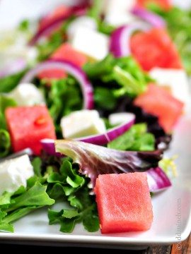 Watermelon Salad with Watermelon Vinaigrette Recipe
