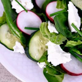 This Spinach Romaine Salad recipe makes a delicious welcome to spring! Topped with radishes, cucumbers, feta, and chives, it is sure to be a favorite! // addapinch.com