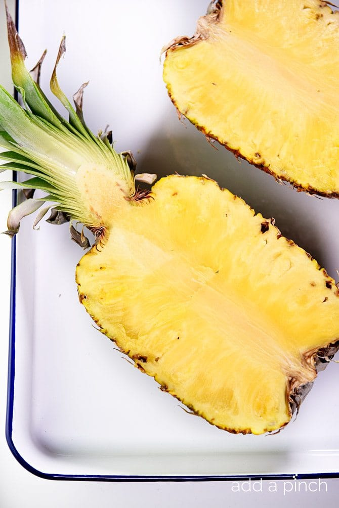 Fresh Pineapple Sorbet Recipe - Fresh pineapple sorbet makes a light and refreshing dessert or snack! Made without any added sugar, this is a sorbet recipe everyone will enjoy! // addapinch.com