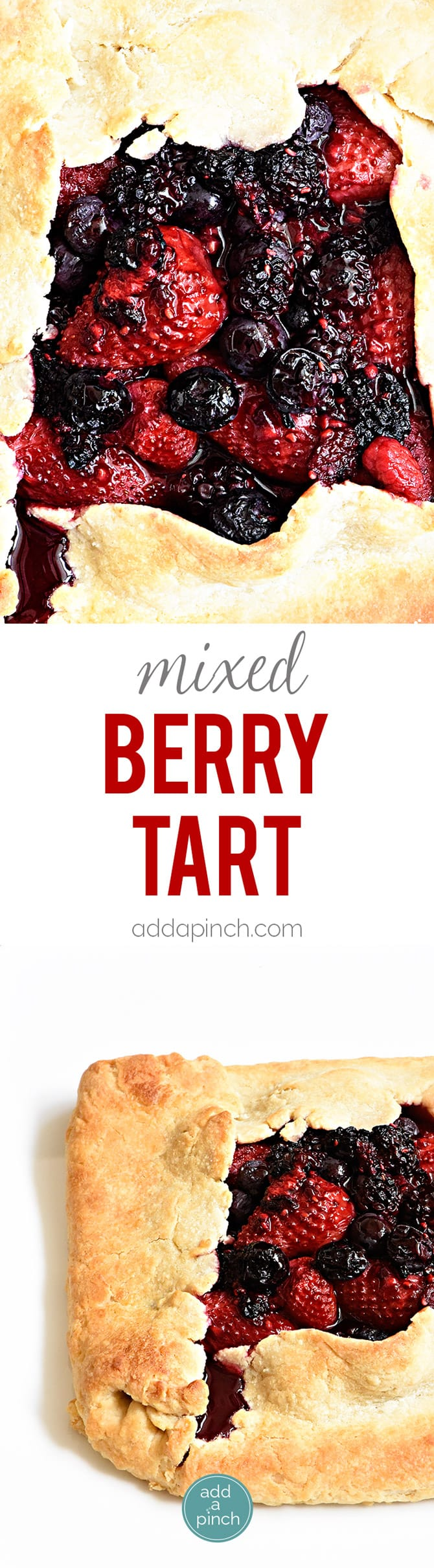 Rustic Mixed Berry Tart Recipe - This Rustic Mixed Berry Tart recipe makes a delicious dessert recipe perfect for a simple weeknight supper! Made of strawberries, blueberries and blackberries and sweetened with honey. So easy! // addapinch.com