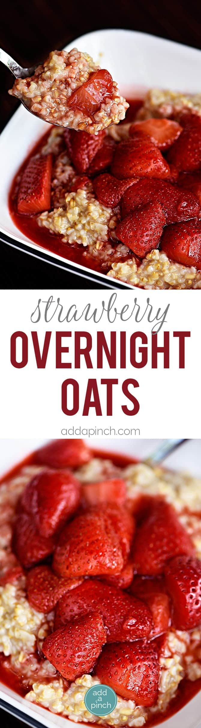 Overnight oats make for a quick and easy breakfast. Made of steel-cut oats, your choice of milk, and topped with fresh strawberries! So delicious! // addapinch.com