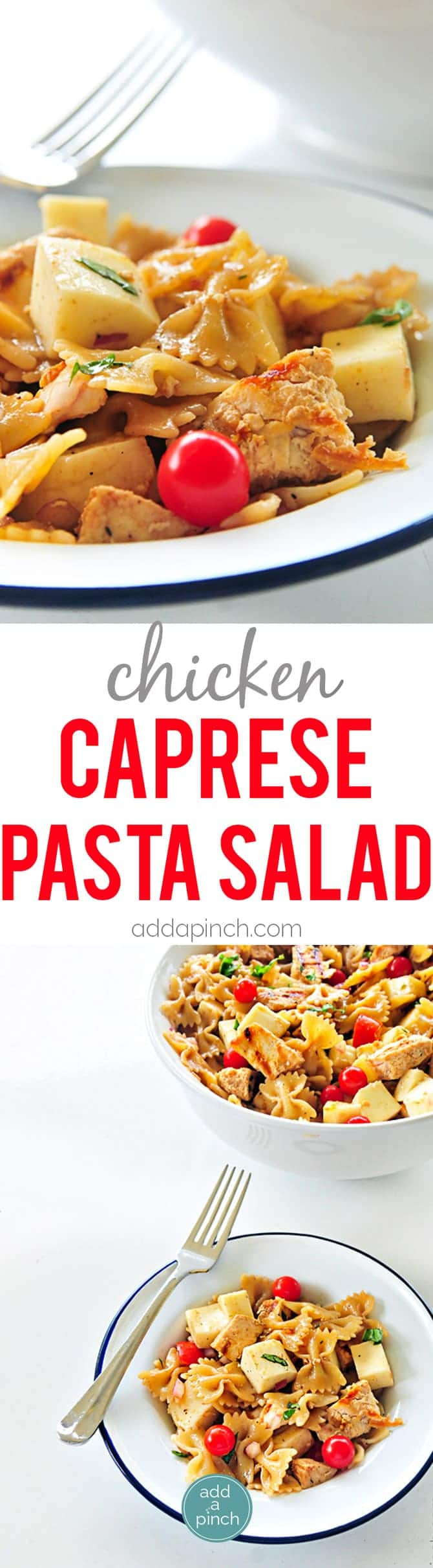 Chicken Caprese Pasta Salad Recipe - this pasta salad recipe is delicious served hot or cold! // addapinch.com