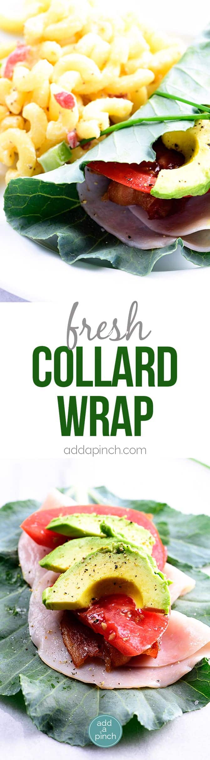 Collard Wrap Recipe - Collard wraps make a fresh, delicious, and nutrient dense way to update your favorite wraps or sandwiches! Made with turkey, bacon, tomato and avocado, these collard wraps are sure to become a favorite! // addapinch.com