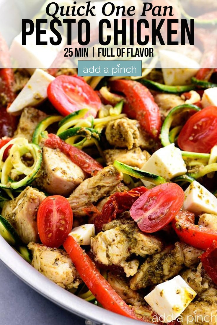 One Pan Pesto Chicken with text - addapinch.com