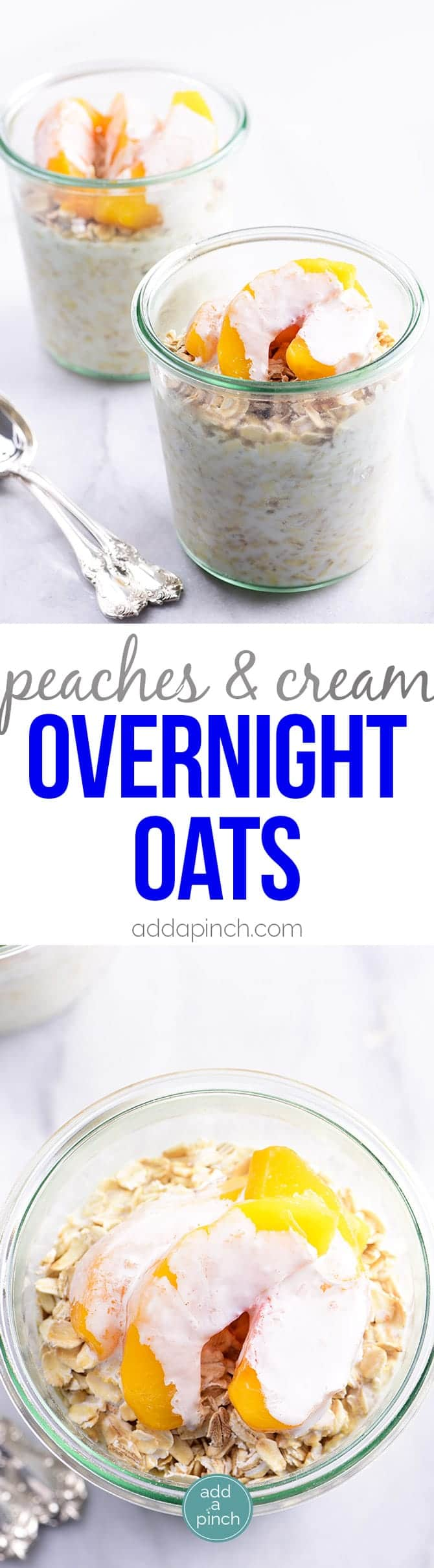 Peaches and Cream Overnight Oats Recipe - Peaches and Cream Overnight Oats make an easy and delicious breakfast or snack! Made with oats, peaches, and cream, this is a recipe perfect for busy mornings! // addapinch.com