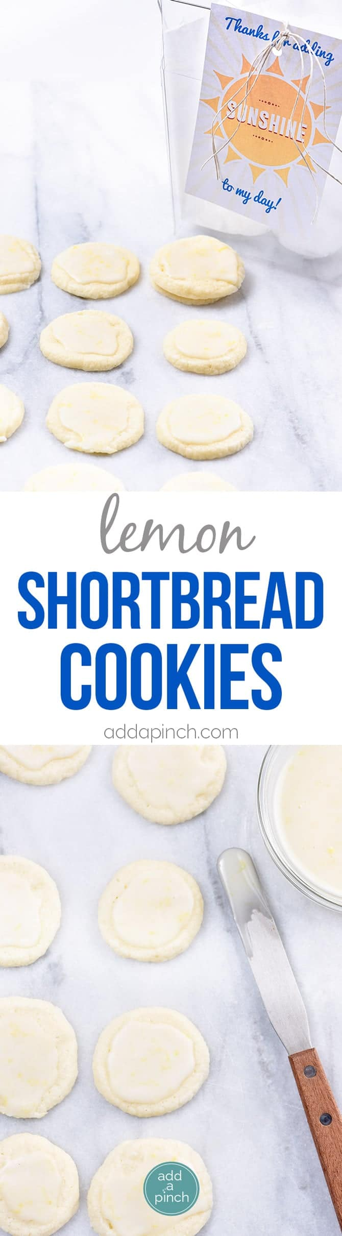Lemon Shortbread Cookies Recipe - Lemon Shortbread Cookies make a delicious slice and bake cookie recipe perfect for sharing! Made with fresh lemons, this cookie recipe has just the perfect amount of sweet and tart that lemon lovers adore! // addapinch.com