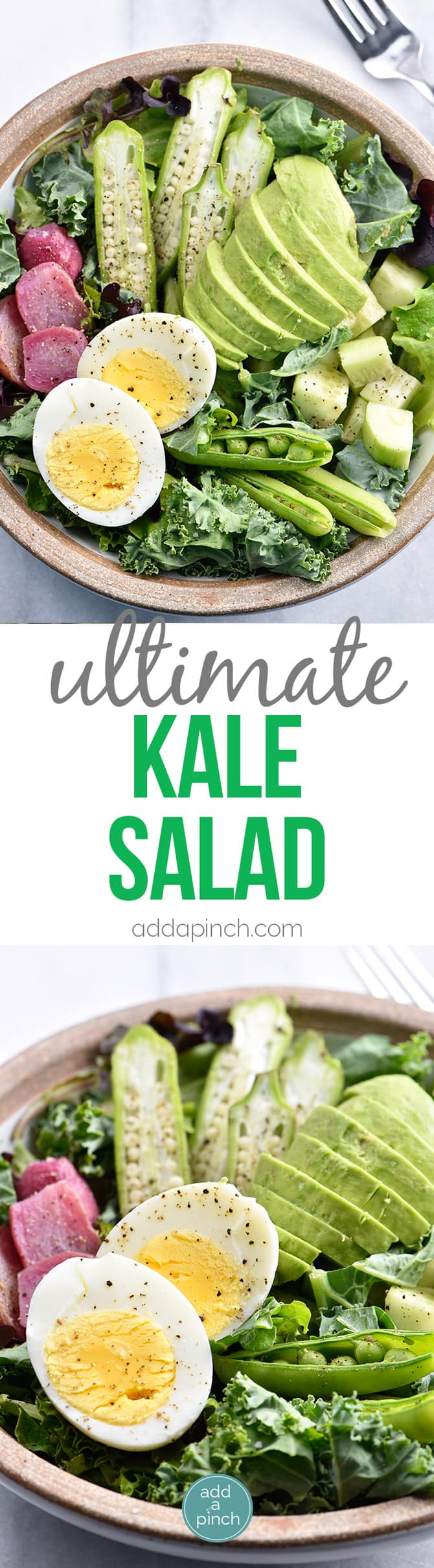 Ultimate Kale Salad Recipe - This Ultimate Kale Salad recipe is the kale salad of my dreams! Filled with crunchy vegetables, creamy avocado and topped with a bold dressing, it is glorious! // addapinch.com