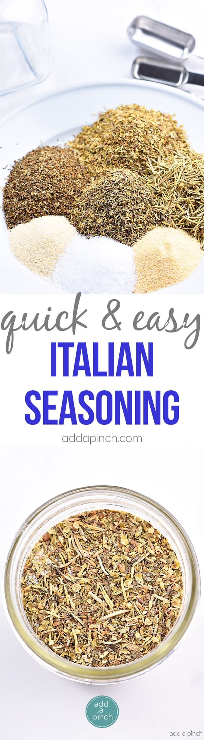 Italian Seasoning Mix Recipe - Italian Seasoning Mix makes a great seasoning mix to keep on hand in your pantry. A delicious savory addition to so many Italian dishes from spaghetti to lasagna or to sprinkle on chicken! It is an essential! addapinch.com