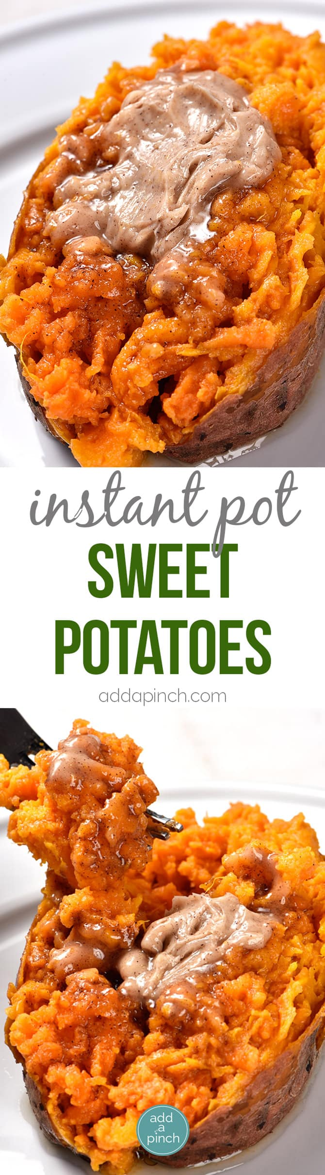 Instant Pot Sweet Potatoes Recipe - Cooking sweet potatoes in an Instant Pot or other electric pressure cooker makes cooking sweet potatoes so quick and easy! Perfect for enjoying as baked sweet potatoes as a side dish or for cooking to use in sweet potato casserole and so many other dishes! // addapinch.com