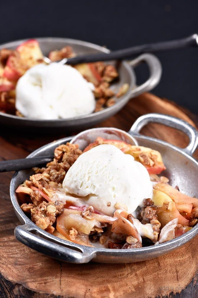 Skillet Apple Crumble Recipe - Skillet Apple Crumble recipe makes a delicious, comforting, and easy dessert recipe! Filled with warm flavors, it makes a scrumptious, yet simple treat! // addapinch.com