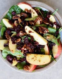 Apple Cranberry Spinach Salad Recipe - This Apple Cranberry Spinach Salad recipe is loaded with crisp apples, crunchy pecans or walnuts, and sweet cranberries and topped with a delicious apple cider vinaigrette dressing that is simply amazing! The perfect fall salad! // addapinch.com