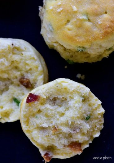 Easy Bacon Green Onion Biscuits Recipe - These Bacon Green Onion Biscuits make a delicious addition to any meal. Made with just five ingredients, they are just perfect served with a soup or salad, too! // addapinch.com