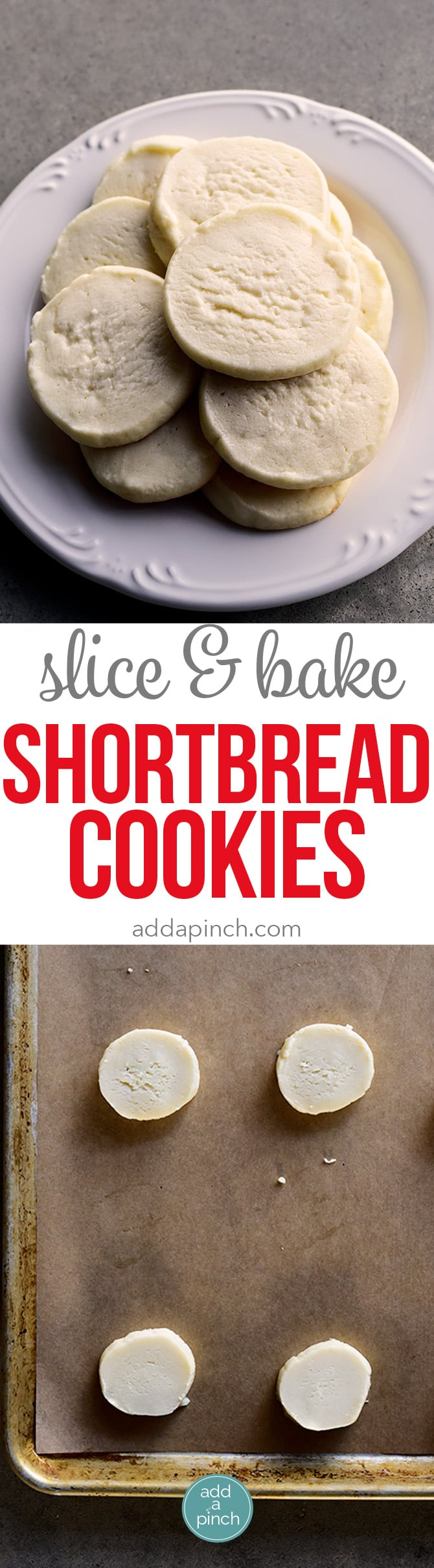Slice and Bake Shortbread Cookies Recipe - Slice and Bake Shortbread Cookies make an easy and delicious cookie recipe. Made with just four ingredients these shortbread cookies are a great make ahead cookie for all sorts of occasions. // addapinch.com
