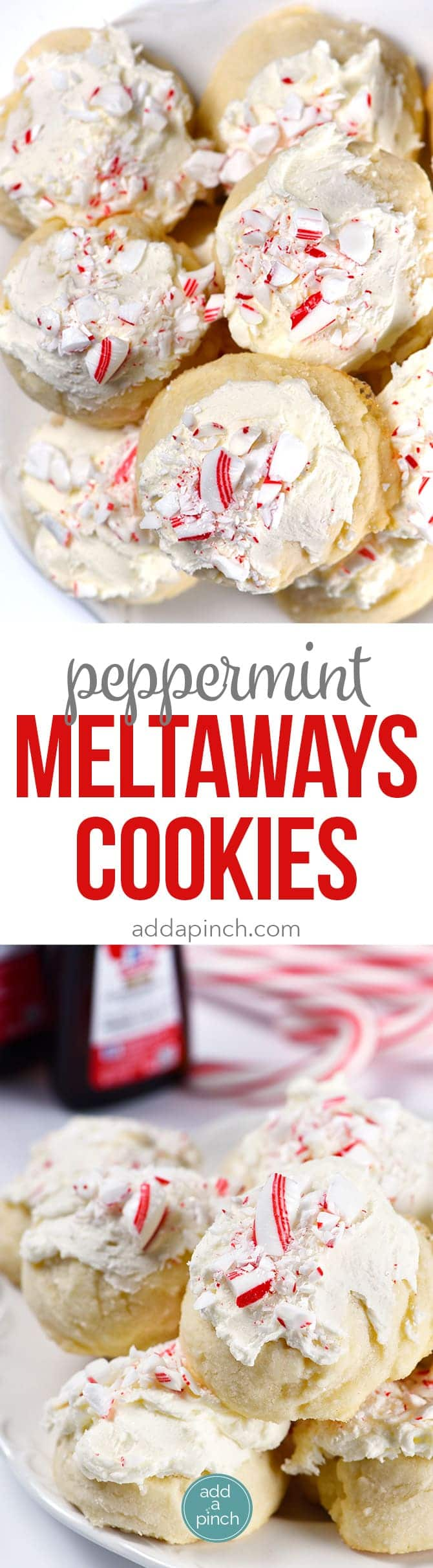 Peppermint Meltaways Cookies Recipe - Peppermint Meltaways Cookies make a festive addition to your holiday cookie platter! They are a Christmas tradition! // addapinch.com