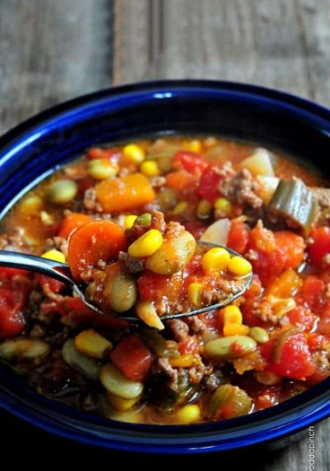 Slow Cooker Vegetable Soup Recipe - This Slow Cooker Vegetable Soup recipe is so simple to make and absolutely scrumptious. A definite family favorite! // addapinch.com