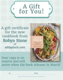 Add a Pinch Cookbook Gift Certificate Printable - Download and print a gift certificate for the Add a Pinch Cookbook to give to your friends and family to let them know you've preordered a copy of the cookbook for them!
