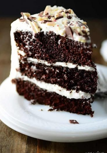 Peppermint Chocolate Cake Recipe - Chocolate Cake has to be an all-time favorite cake recipe and this Peppermint Chocolate Cake version is perfect for the holidays. // addapinch.com