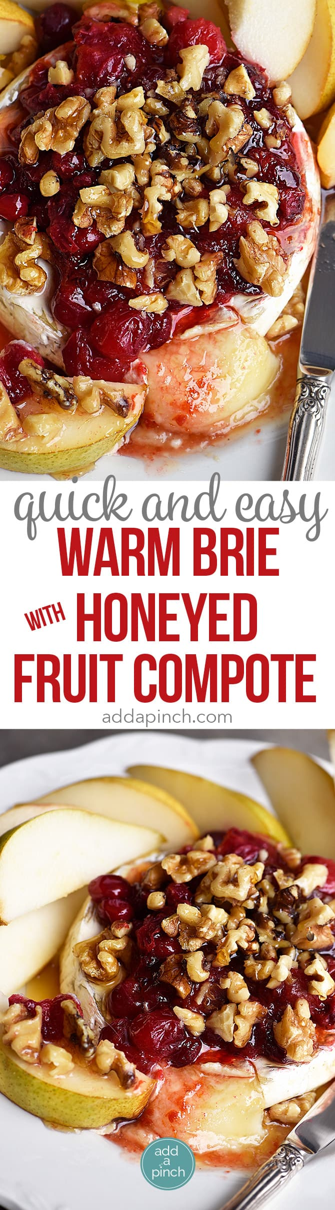 Warm Brie with Honeyed Fruit Compote makes a beautiful, quick and easy appetizer. Made with a honeyed cranberry walnut fruit compote, this baked brie recipe is festive for the holidays! // addapinch.com