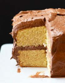 Best Vanilla Cake Recipe - A one bowl vanilla cake recipe that is quick, easy, and delicious! Made from scratch, this cake is perfect for every occasion! // addapinch.com