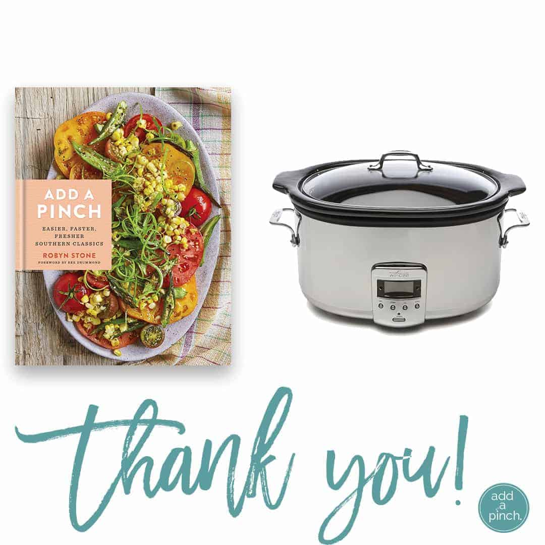 Add a Pinch Cookbook + All Clad Slow Cooker Giveaway! // addapinch.com