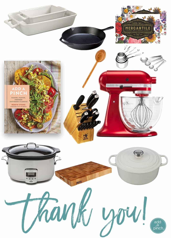 Add a Pinch Cookbook Kitchen Essentials Thank You Giveaway! // addapinch.com