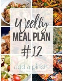 Weekly Meal Plan #12 // Sharing our Weekly Meal Plan with make-ahead tips, freezer instructions, and ways make supper even easier! // addapinch.com