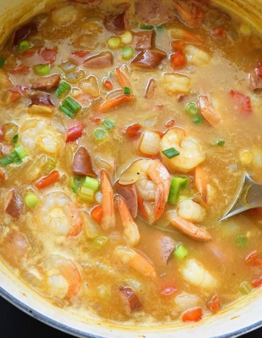Shrimp and Sausage Gumbo Recipe - This Shrimp and Sausage Gumbo makes a delicious, quick and easy gumbo recipe! Ready in less than 30 minutes, this gumbo is great for weeknights and weekends! // addapinch.com