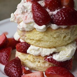 Strawberry Shortcake with Sweet Cream Cheese Biscuits Recipe - Strawberry Shortcakes with Sweet Cream Cheese Biscuits make a simple, yet scrumptious dessert recipe perfect for spring and summer! // addapinch.com