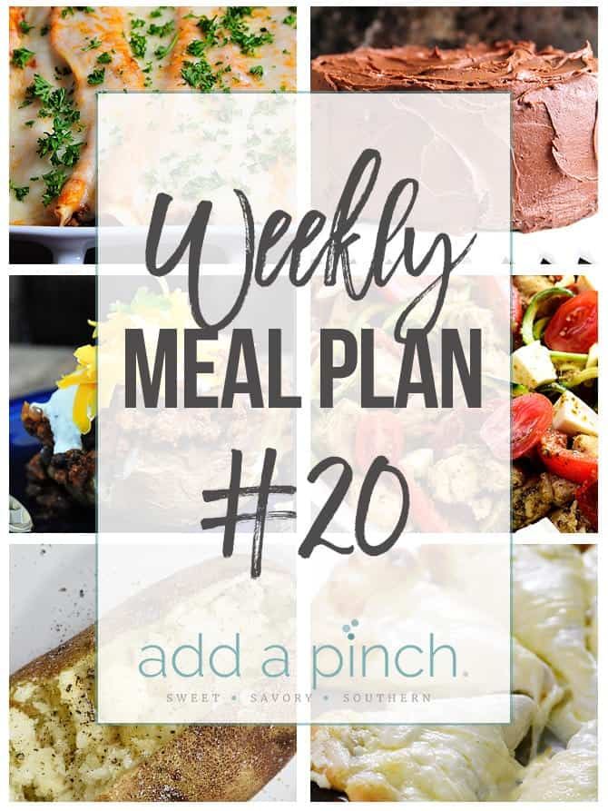 Weekly Meal Plan #20 - Sharing our Weekly Meal Plan with make-ahead tips, freezer instructions, and ways make supper even easier! // addapinch.com