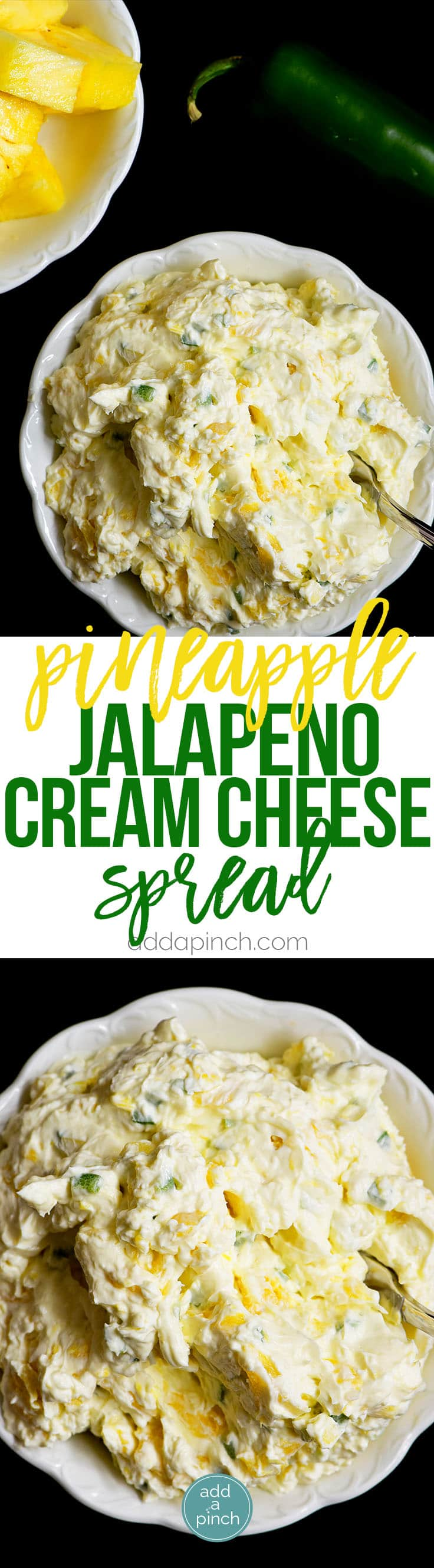 Pineapple Jalapeno Cream Cheese Spread - This quick and easy recipe comes together in a snap with just four ingredients! This sweet and spicy cream cheese spread is perfect for sandwiches, wraps, crackers or bagels! // addapinch.com