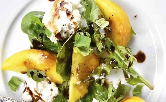 Peach, Basil and Burrata Salad Recipe - A delicious take on a traditional caprese salad, this peach, basil and burrata salad comes together in minutes and is just as delicious as it is beautiful.// addapinch.com