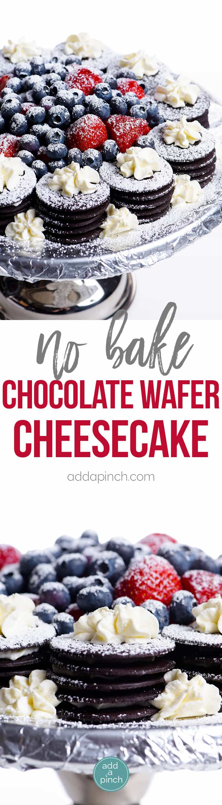 No Bake Chocolate Wafer Cheesecake Recipe - This easy no bake cheesecake recipe comes together quickly for a beautiful, yet simple dessert! // addapinch.com
