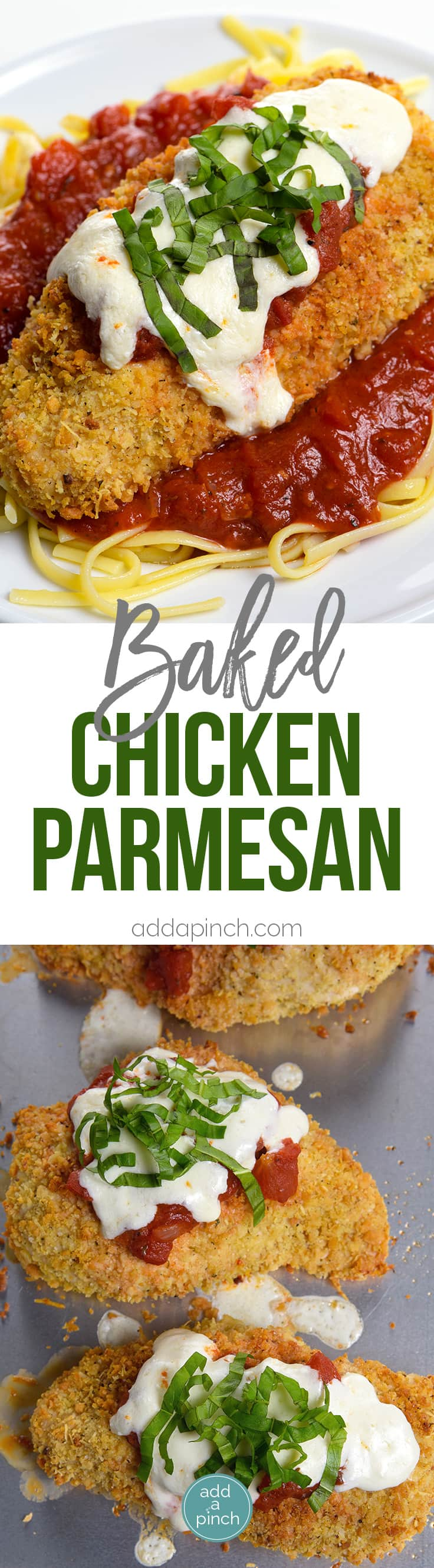 Baked Chicken Parmesan Recipe - This baked chicken parmesan recipe includes everything you love about chicken parmesan without all the guilt or mess! // addapinch.com