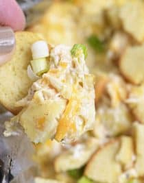 Slow Cooker Hot Crab Artichoke Dip Recipe - A delicious hot crab artichoke dip recipe made even easier with the slow cooker! Serve with butter crackers or toasted bagels! Always a party favorite! // addapinch.com
