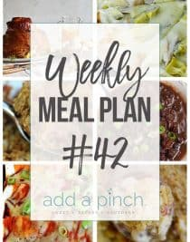 Weekly Meal Plan #42 - Sharing our Weekly Meal Plan with make-ahead tips, freezer instructions, and ways make supper even easier! // addapinch.com