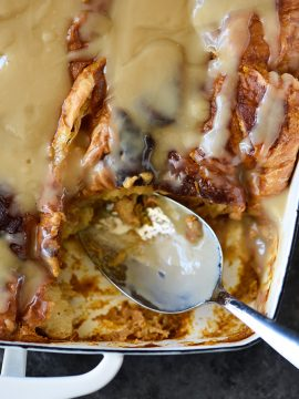 Pumpkin Bread Pudding Recipe with Maple Cream Sauce