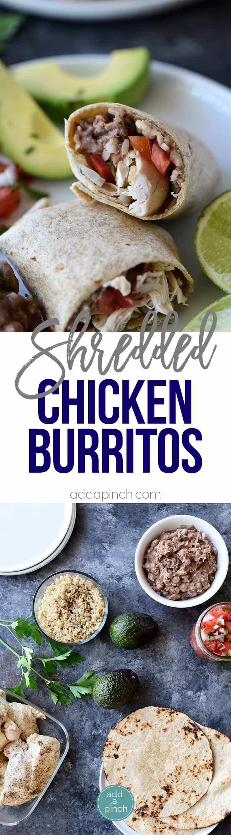 Shredded Chicken Burritos Recipe - This traditional chicken burrito makes a quick and easy meal comes together in a snap for a favorite lunch or supper! // addapinch.com