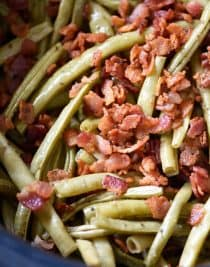 Slow Cooker Green Beans Recipe - These are the best slow cooker green beans and have everyone coming back for more!// addapinch.com
