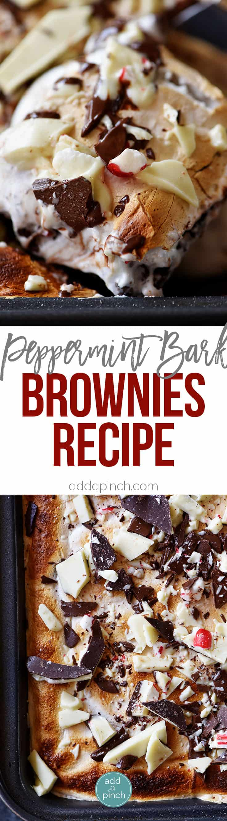 Peppermint Bark Brownies Recipe - Peppermint bark meets your favorite brownies in this quick, easy and delicious recipe! // addapinch.com