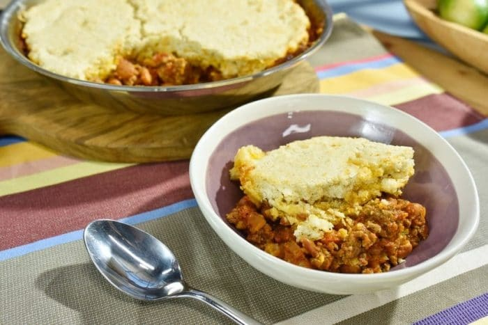 Robyn Stone makes Beef and Bean Casserole with a Cornbread Topping, as seen on Food Network's The Kitchen