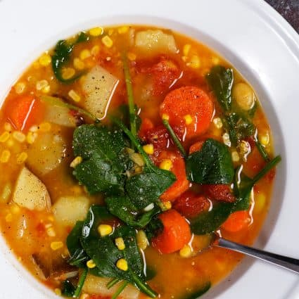 Lentil Vegetable Soup Recipe - This easy one pot Lentil Vegetable Soup recipe is a warm, comforting and delicious soup recipe! Gluten-free, vegetarian and vegan, but one that even meat lovers love! // addapinch.com