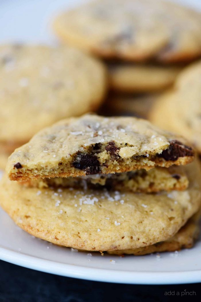 Photograph of inside of chocolate chip cookie. // addapinch.com