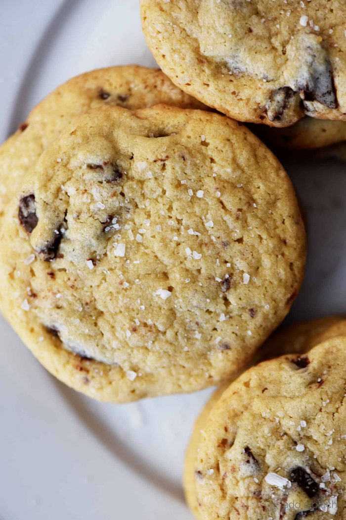 Close up photograph of chocolate chip cookie with a sprinkle of sea salt on a white plate. // addapinch.com