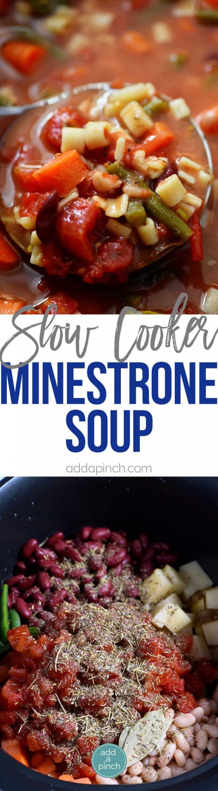 Slow Cooker Minestrone Soup Recipe - Loaded with seasonal vegetables, this minestrone soup is made even easier in this slow cooker recipe! A definite family favorite! // addapinch.com