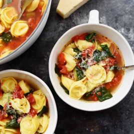 Vegetable Tortellini Soup Recipe - This quick and easy vegetable tortellini soup comes together in minutes for a flavorful soup recipe loaded with vegetables and delicious bites of tortellini. // addapinch.com