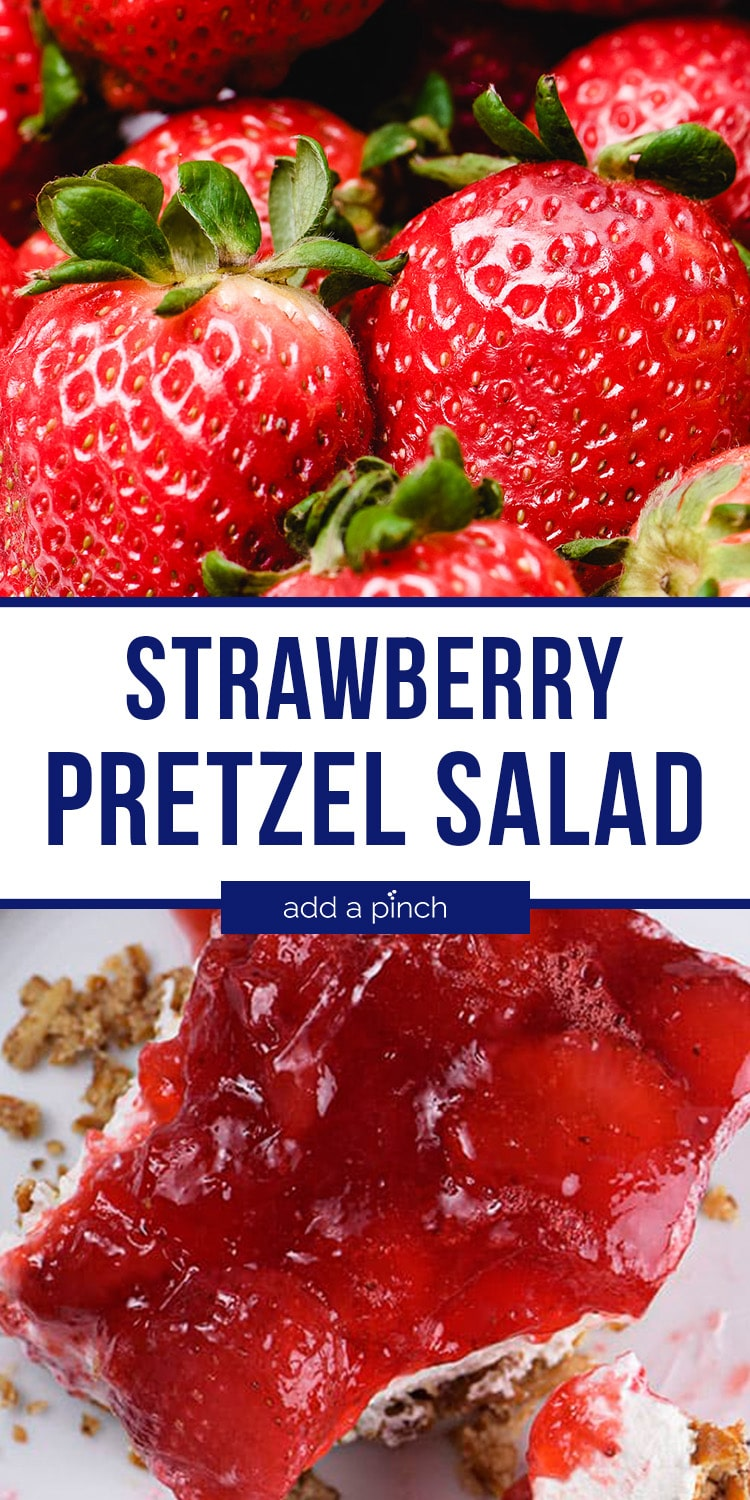 Strawberry Pretzel Salad Collage with text - addapinch.com